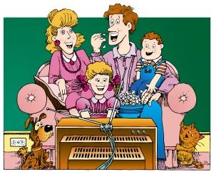 familie copii la tv